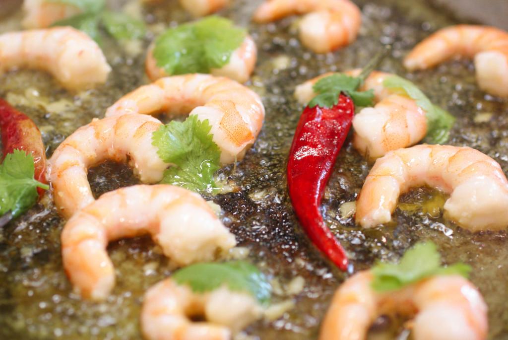 Sizzling shrimp