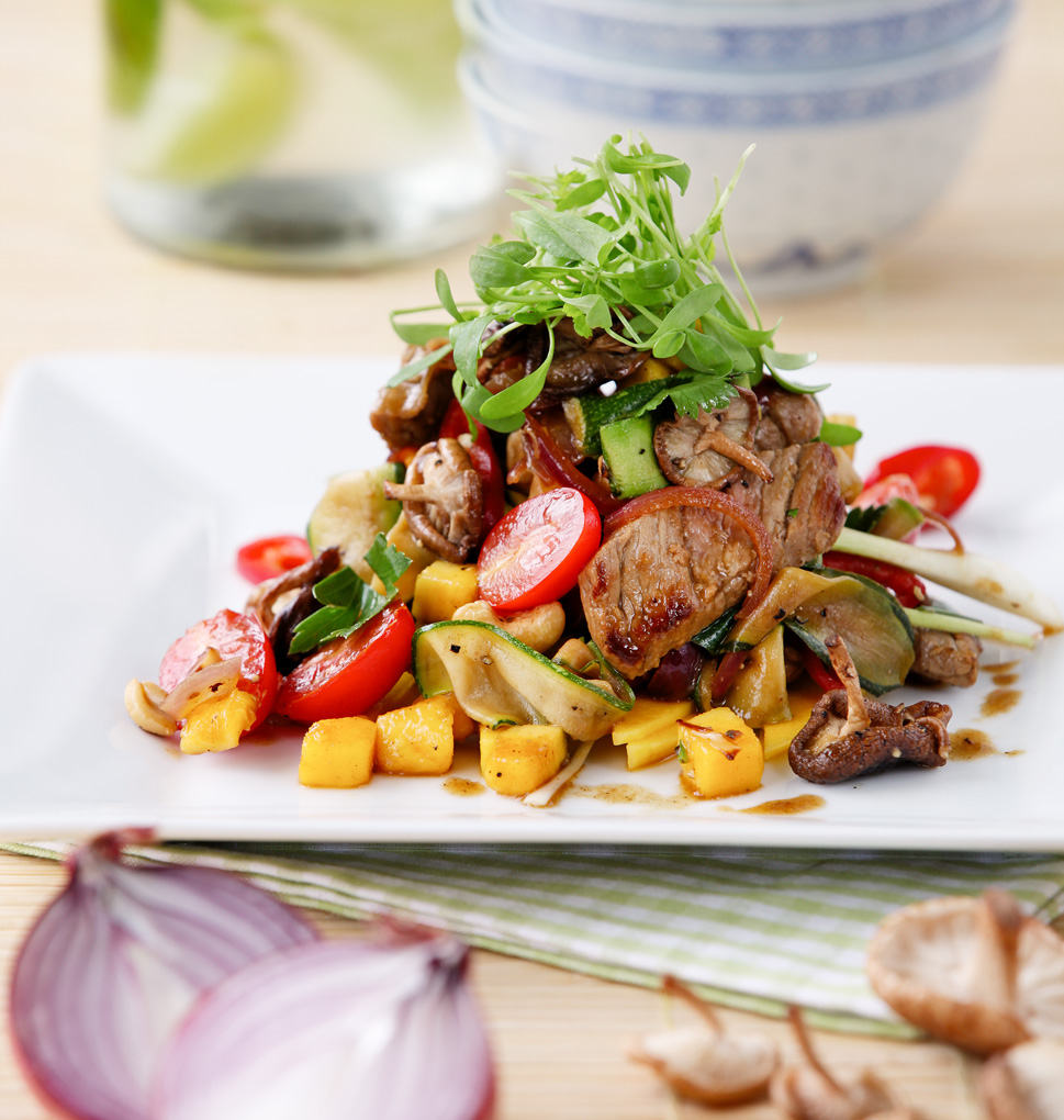 An example of one of Marco's recent recipe selection: Thai Beef Salad with Mango and Roasted Shitake Mushrooms