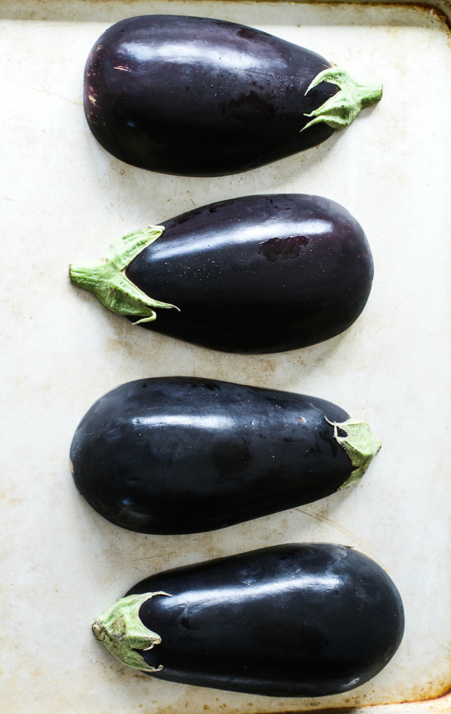 Eggplants ready for the oven