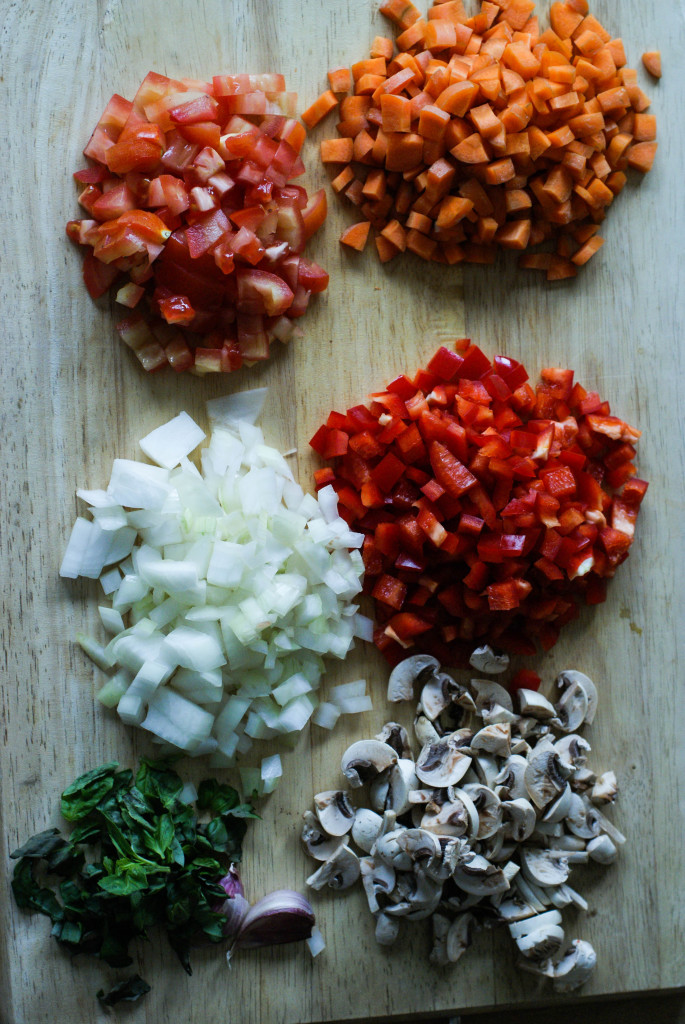 Chopped and diced ingredients for the filling