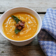 Paleo Roasted Pumpkin Soup with Fried Sage