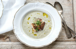Fennel and Leek Soup with Smoked Salmon