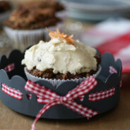 """Carrot Cake Muffins with """"Cream Cheese"""" Frosting"""