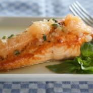 Roasted Salmon with Grapefruit Basil Sauce