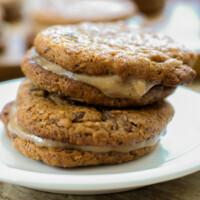"Cinnamon Maple Cream Filled ""Oatmeal"" Raisin Sandwich Cookies"