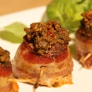 Bacon Wrapped Meatballs with Sun-Dried Tomato, Basil and Walnut Pesto